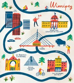 Charlotte Trounce, is the British Artist Behind These Adorable City Maps. In the picture: Trounce's illustrated map of Winnipeg, Canada. Photocollage, Travel Illustration, Map Design, Graphic Design, City Maps, Travel Maps, Travel Themes, Map Art, Illustrations Posters