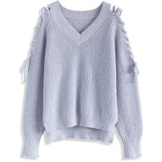 Chicwish Lace-up Shoulder Knit Top in Lavender (€38) ❤ liked on Polyvore featuring tops, blue, long sleeved, sweaters, laced up top, long sleeve knit top, chicwish tops, blue long sleeve top and lavender top