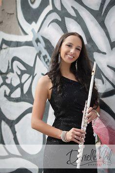 Senior Portraits In Struthers, Ohio. Senior girl with flute