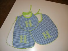 personalized baby bib and burp pad sets