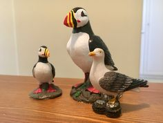 Travel souvenirs - ornamental puffins from Iceland and seagull from Germany