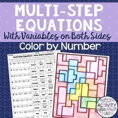 Solving MultiStep Equations B Color by Number Teaching