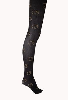 Luxe Metallic Hello Kitty Tights | FOREVER21 [Squeee]