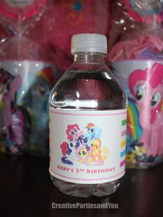 My Little Pony Water Bottle Labels - Pinkie Pie Labels / Physical item / Set of 12 by CreativePartiesandU on Etsy