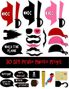 DIY 30 Pirate Photo Booth Prop Set by DigitalConfectionery on Etsy, $4.00