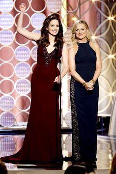 Totally loved Tina Fey's burgundy dress - Golden Globes 2014
