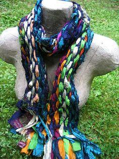 Hand Woven Sari Ribbon Scarf  Fringe Scarf by EnchantedKnits, $30.00