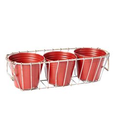 Red Tin Four-Piece Planter Set | zulily