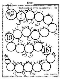 simple worksheet was made for my students to continue to practice counting and writing their numbers up to There are a few guide numbers to keep the students on track with their counting, and it is all done on a caterpillar. Learning Numbers, Math Numbers, Writing Numbers, Kindergarten Math Worksheets, In Kindergarten, Preschool Activities, Counting To 20, 1st Grade Math, Homeschool Math