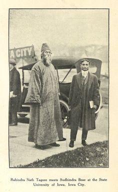 Rabindranath Tagore meets Sudhindra Bose at the State University of Iowa, Iowa City History Essay, History Photos, History Of India, Ancient History, Rare Pictures, Rare Photos, Harvard University, State University, Titanic Behind The Scenes
