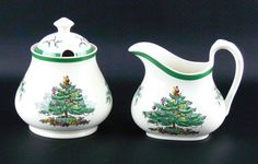 Spode Christmas Tree Sugar Bowl with Lid S3324-L and Creamer S3324-Q 3 Piece Set #Spode