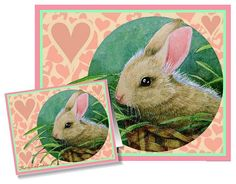 Set of Four Valentine's Day Cards Bunny Art by by MelodyLeaLamb, $15.00