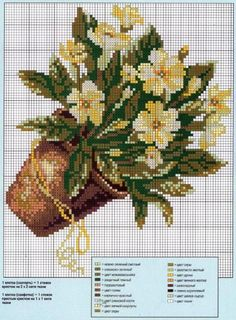 flowers in pot Cross Stitch Cards, Cross Stitch Rose, Cross Stitch Flowers, Cross Stitching, Cross Stitch Embroidery, Cross Stitch Patterns, Seed Bead Flowers, Flowers In Jars, Beaded Flowers