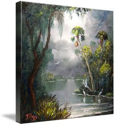 """Old Florida River"" by Mazz Original Paintings: Oil painting of a relaxing old Florida scene. - featuring oak trees, sabal palmetto palm trees, cypress trees, spanish moss, standing and flying birds, water reflections, sawgrass, cattails and lot..."