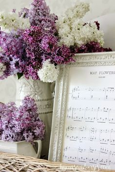 "Printable Vintage ""May Flowers"" Sheet Music and Lilacs Vignette - Hymns & Verses"