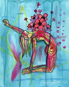 Yoga Art Blossoming Heart 8x10 Fine Art Print door ElizaTobin, $22.00