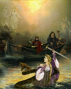 The Lady of the Lake was a title given to several different or related figures in the Arthurian Cycle.  This mysterious female gave Arthur the magic sword, Excalibur. Was she a Celtic lake divinity in origin, the same kind as the Gwagged Annwn? More likely she was originally a lake fairy from Welsh folklore.