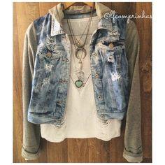 http://www.lfcomprinhas.com.br Jaqueta Jeans com manga de moletom 169,90