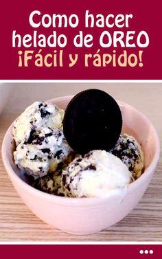 Como hacer helado de OREO. ¡Fácil y rápido! Cereal, Oatmeal, Ice Cream, Breakfast, Food, Halloween, Sweets, Beverages, Oreo Ice Cream