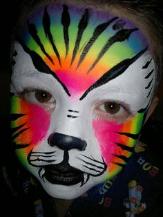 a link to the painted faces Flickr group Kids Makeup, Fx Makeup, Ugly Faces, Tiger Face, Fantasy Makeup, Imaginative Play, Painting Inspiration, Halloween Costumes, Halloween Face Makeup