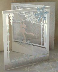 Create a beautiful wintertime page using the Sizzix Ice Skater Thinlits Dies. These dies are made of carbon steel for easily cutting through most cardstock to Tri Fold Cards, Folded Cards, Christmas Cards To Make, Christmas Crafts, Xmas, Acetate Cards, Pop Up Art, Shabby, Shaped Cards