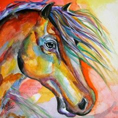 Color of Light Watercolor Horse Colorful Sunset Daily Painting by  painting by artist Laurie Justus Pace