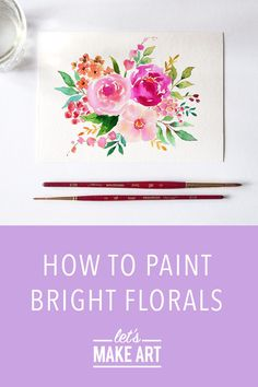 Watercolor Flowers Tutorial, Watercolor Art Diy, Watercolor Projects, Watercolour Tutorials, Floral Watercolor, Watercolor Sketch, Flower Doodles, Doodle Flowers, Let's Make Art