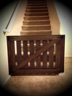 Cuteeeeeee...we used the girls old crib rails...(light oak colour matched our floors)... DIY baby gate #barndoor #babygate
