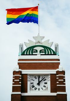 Starbucks Raises the Pride Flag Above Seattle Headquarters to celebrate Seattle Pride Weekend 2014.