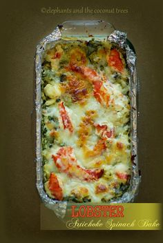 Lobster, Artichoke and Spinach Bake - elephants and the coconut trees