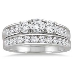1 1/2CT TW Three Stone Round Cut Ring Engagement Wedding Band 14K White Gold #SolitairewithAccents