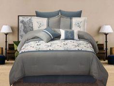 12 Piece Queen Bluebell Bedding Bed in a Bag Set Grey Bedroom Decor, Bedroom Bed, Cozy Bedroom, Dream Bedroom, Bedroom Ideas, Master Bedroom, Bedrooms, Bed Comforter Sets, Comforters