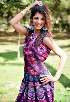 Maxi Dresses – Indian Mandala Peacock Long Dress Cotton Beachwear – a unique product by IndianCraftPalace on DaWanda