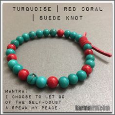Turquoise is a gemstone that provides protection, grounding, strength, courage, love and luck.Turquoise is also a token of friendship. Perhaps it's strongest ability is for alleviating negativity. Many Indian tribes associate Turquoise with fertility......Bracelets I Beaded & Charm Yoga Mala I Meditation & Mantra I Spiritual. Turquoise Red Coral.