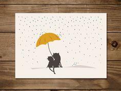 #Postkarte mit #Katze Friedegunde und Frida im #Regen. #Freundschaft