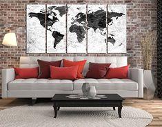 large black and white world map, push pin World map wall ...