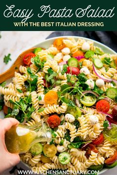 A simple pasta salad with mozzarella and veggies plus an easy Italian dressing. Customize with whatever you've got in! #pastasalad #summerfood Healthy Pasta Recipes, Easy Dinner Recipes, Summer Recipes, Cooking Recipes, Kitchen Recipes, Beef Recipes, Salad Recipes, Dinner Ideas, Breakfast Recipes