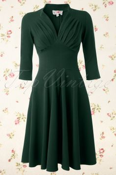 Miss Candyfloss - TopVintage exclusive ~ 50s Vedette Forest Green Swing dress