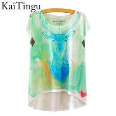 KaiTingu 2016 Brand New Fashion Summer Asymmetric High Low Style Harajuku Travel Print Shirt Short Sleeve T Shirt Women Tops