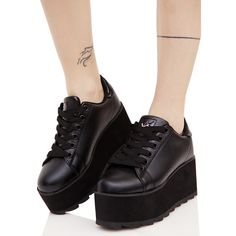 Y.R.U. Black Lala Platform Sneakers ($80) ❤ liked on Polyvore featuring shoes, sneakers, faux leather shoes, platform sneakers, black sneakers, synthetic leather shoes and black trainers