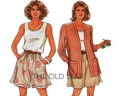 Sewing Pattern for 1990s Outfit - Shorts, Top & Jacket, Easy Simplicity 7778 #1990sOutfits #SplitSkirt #WideLegShorts #TankTop #CardiganJacket #EasySewingProjects #PlusSizeSewing #TheOldLeaf
