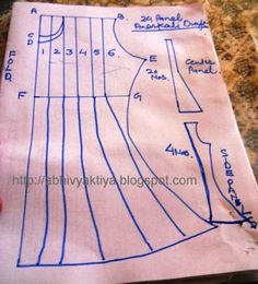 Today I am showing you 24 panels anarkali tutorial. This is different from my earlier tutorial, which was made with less cloth. Anarkali Dress Pattern, Anarkali Patterns, Frock Patterns, Girl Dress Patterns, Clothing Patterns, Anarkali Frock, Paper Patterns, Design Patterns, Pattern Drafting Tutorials