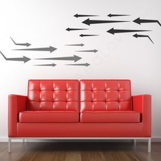 DIY Arrow Art Wall Decals and a couch