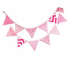 Pink Cotton Bunting Flags for Baby Nursery, Chevron and Polka Dots
