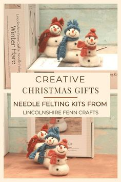 There's nothing better than a handmade Christmas gift or decoration. These festive needle felted snowmen needle felting kits are easy to learn with no sewing or tricky patterns. Every craft kit from Lincolnshire Fenn Crafts comes with everything you need to complete the project from start to finish and, with forty craft kits to choose from, there's something for everyone! happy creating. #lincolnshirefenncrafts Creative Christmas Gifts, Handmade Christmas Gifts, Homemade Christmas, Christmas Decor, New Crafts, Holiday Crafts, Crafts To Make, Felt Snowman, Snowmen