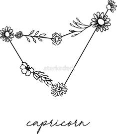 """Capricorn Zodiac Wildflower Constellation"" Stickers by aterkaderk Capricorn Sign Tattoo, Capricorn Constellation Tattoo, Capricorn Art, Horoscope Tattoos, Zodiac Sign Tattoos, Wrist Tattoos, Flower Tattoos, Body Art Tattoos, Small Tattoos"