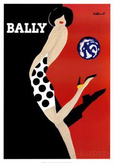 Bally by Bernard Villemot. Art Print from AllPosters.com, $29.99