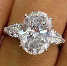 Stunning GIA 5.06ct Vintage OVAL Diamond Three Stone Engagement Wedding Platinum Ring