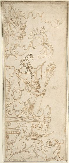Antique-Style Ornamental Oblong Design: Grotesque Figures, Masks, and Amphorae