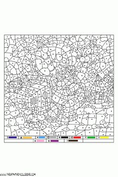 colorear-con-numeros-016 Adult Color By Number, Color By Number Printable, Color By Numbers, Paint By Number, Fall Coloring Pages, Coloring Pages To Print, Printable Coloring Pages, Coloring Books, Diy Arts And Crafts